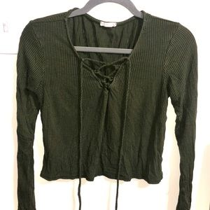 Tops - Lace-up Olive crop top